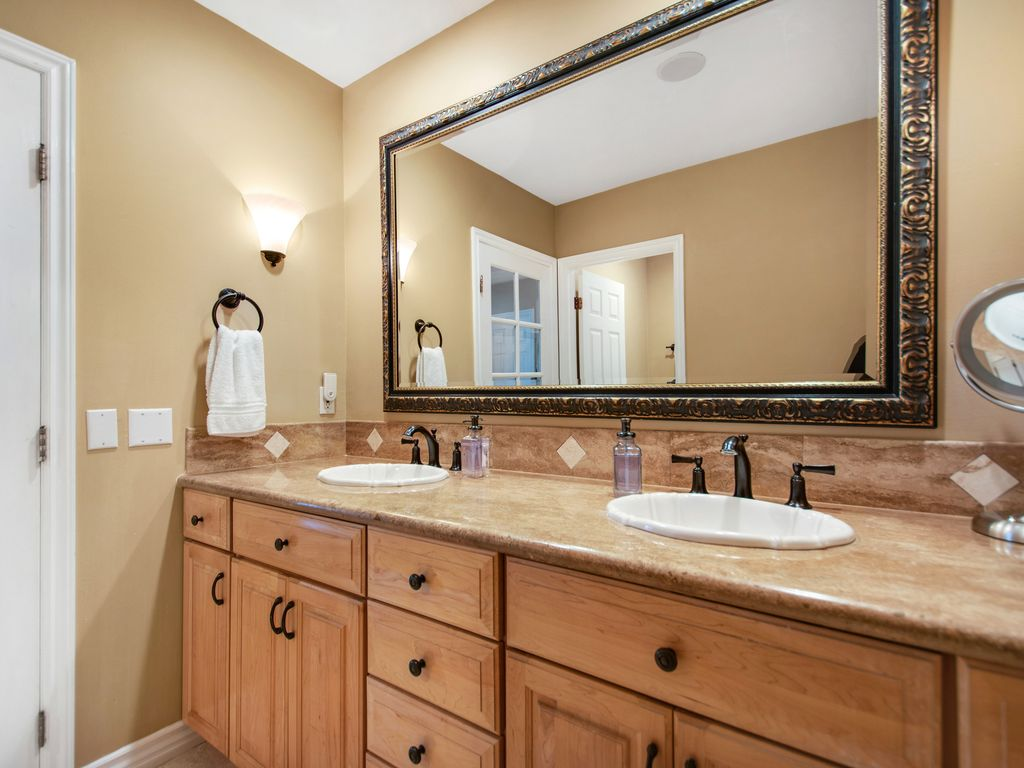 Lower Level Primary Bath Dual Vanity - 35119 Beach Road, Dana Point, CA | Beach Road Realty